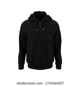 Blank hooded sweatshirt, men's hooded jacket with half zip for your design mockup for print, isolated on white background, 3d rendering, 3d illustration