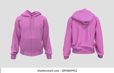 Blank hooded sweatshirt  mockup with zipper in front and back views, isolated on white  background, 3d rendering, 3d illustration