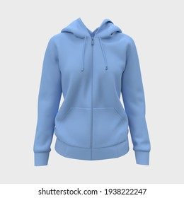 Blank hooded sweatshirt  mockup with zipper in front view, isolated on white  background, 3d rendering, 3d illustration