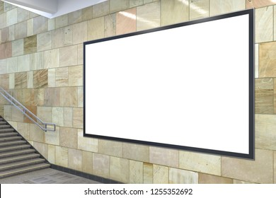 Blank horizontal advertising billboard mockup underground with clipping path around ad banner. 3d illustration