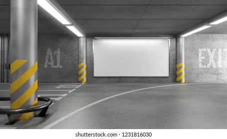 Blank horizontal big poster in an car parking garage under shopping center. Billboard mockup. 3D rendering.