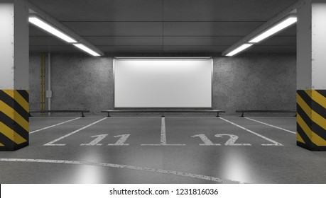 Blank horizontal big poster on the multi-storey underground parking. Billboard mockup. 3D rendering.