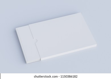 Blank horizontal book in box on white. Include clipping path around book and box. 3d render