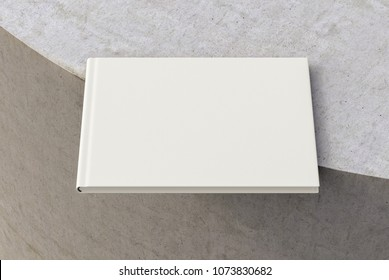 Blank horizontal book on the edge. Isolated with clipping path around book. 3d render