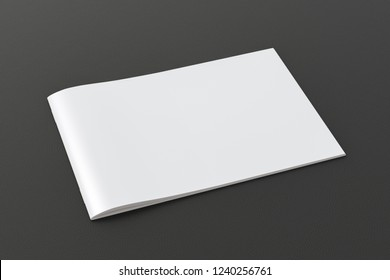 Blank horizontal booklet cover on black background with clipping path around booklet. 3d illustration