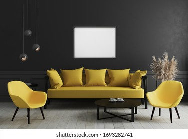 Blank horizontal picture frame mock up in Modern room interior background with black wall and stylish yellow sofa and design armchair near coffee table, elegant, luxury, 3d rendering