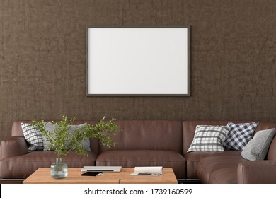 Blank horizontal poster frame on brown concrete wall in interior of living room with clipping path around poster. 3d illustration