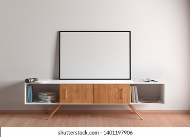 Blank horizontal poster mock up with black frame on cabinet in living room interior. 3d illustration