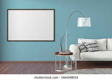 Blank horizontal poster on cyan wall in interior of living room with white leather couch, carpet, floor lamp and coffee table on hardwood flooring. 3d illustration