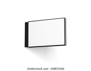 Blank horizontal store signage design mockup isolated, 3d rendering. Empty rectangular light box mock up. Clear shop lightbox template. Street sign hanging, mounted on the wall. Signplate.