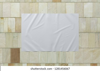 Blank horizontal wrinkled street poster on marble tiles wall. With clipping path around poster. 3d illustration