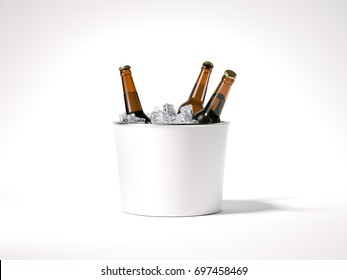 Blank ice bucket with brown beer bottles. 3d rendering