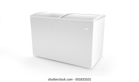 Blank ice cream freezer isolated on white background. Store fridge clean refrigerator. 3d rendering.