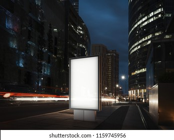 Blank illuminated banner at night time in the city next to red lighted road. 3d rendering