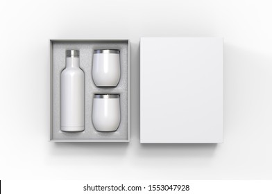 Blank  Insulated Stainless Steel Wine Bottle and Cup Gift Box Set For Branding. 3d render illustration.