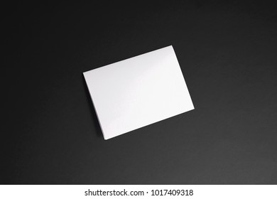 Blank Invitation, greeting cards isolated on black to  showcase your design presentation. 3d illustration.