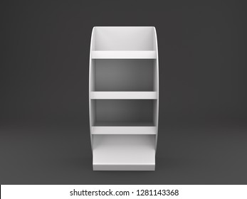 Blank Isolated On Black Single Empty POS Shelf Display Stand.Mockup 3D rendering