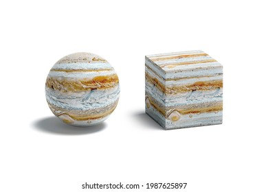 Blank jupiter surface ball and cube mockup, isolated, 3d rendering. Empty cuboid and globule abstract pattern surface mock up. Clear superficies dye material template.