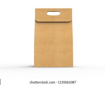 Blank kraft paper bag with handle in 3d rendering