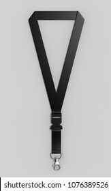 Blank Lanyard with metal snap hook and detachable plastic buckle. 3d render illustration.