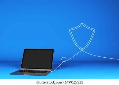 Blank laptop with abstract shield shaped cable on blue background. Mock up and research concept. 3D Rendering