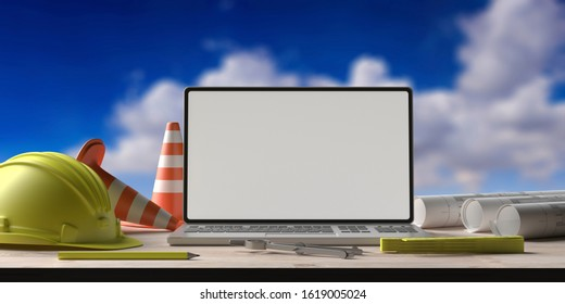 Blank laptop screen and engineering tools on an architect engineer desk, mockup template, blue sky background. Construction site office. 3d illustration