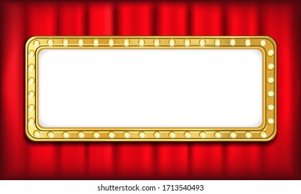 Blank light sign frame on red theatre curtain