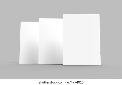 Blank magazine or booklet, standing mockup for design uses in 3d rendering