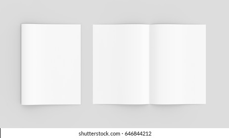 Blank magazine or brochure mockup isolated on soft gray background. 3D illustrating