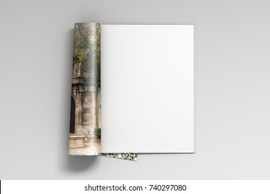 Blank magazine pages with glossy paper isolated on white background. 3d illustration
