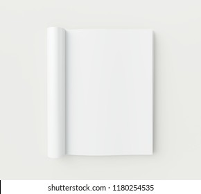Blank magazine pages on white background. 3d rendering