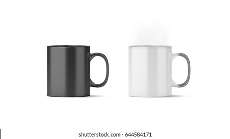 Blank magic mug mockup isolated, cold and hot state, 3d rendering. Magical heat sensitive cup mock up. Color changing beverage utensil template. Morphing ceramic drink with thermoprint empty space.