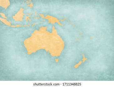 Blank map of Australasia (Oceania) with country borders  in soft grunge and vintage style, like old paper with watercolor painting.