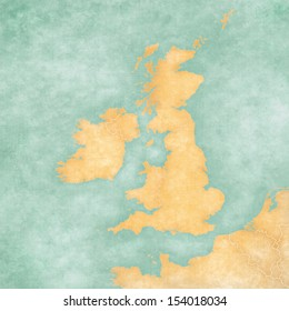 Blank map of British Isles. The Map is in vintage summer style and sunny mood. The map has a soft grunge and vintage atmosphere, which acts as a watercolor painting.
