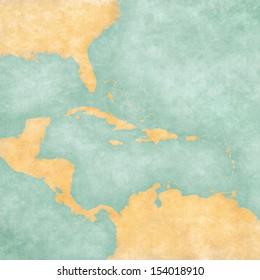 Blank map of Caribbean and Central America. The Map is in vintage summer style and sunny mood. The map has a soft grunge and vintage atmosphere, which acts as a watercolor painting.