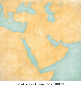 Blank map of Middle East (Western Asia) with country borders in soft grunge and vintage style, like watercolor painting on old paper.