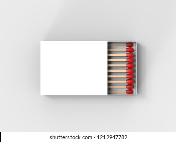 Blank matchbox mock up template isolated on white background, 3d illustration.