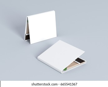 Blank matches white book mock up 3d rendering