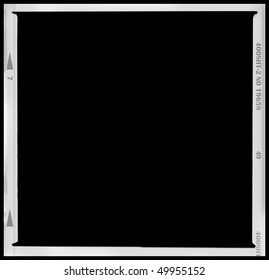 Blank medium format negative picture frame,with free copy space, isolated on black background,