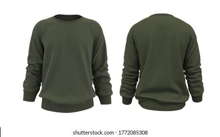 Blank Men's sweatshirt in front and back views, jacket design presentation. 3d rendering, 3d illustration
