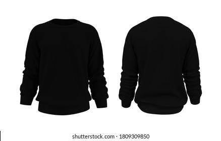 Blank Men's sweatshirt in front and back views, 3d rendering, 3d illustration