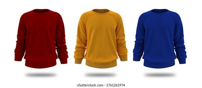 Blank Men's sweatshirt in front view, jacket design presentation. 3d rendering, 3d illustration