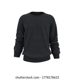 Blank Men's sweatshirt in front view, 3d rendering, 3d illustration
