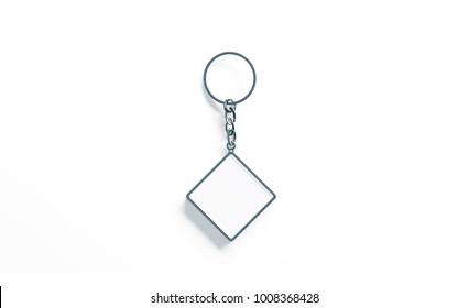Blank metal rhombus white key chain mock up top view, 3d rendering. Clear silver keychain design mockup isolated. Empty plain keyring souvenir holder template. Steel trinket label