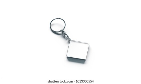 Blank metal rhombus white key chain mock up side view, 3d rendering. Clear silver keychain design mockup isolated. Empty plain keyring souvenir holder template. Steel trinket label