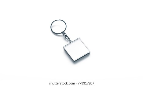 Blank metal square white key chain mock up side view, 3d rendering. Clear silver keychain design mockup isolated. Empty plain keyring souvenir holder template. Steel trinket label