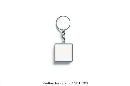 Blank metal square white key chain mockup top view, 3d rendering. Clear silver keychain design mock up isolated. Empty plain keyring souvenir holder template. Steel trinket label