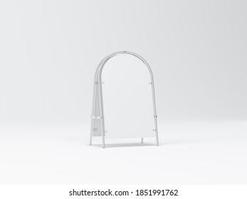 Blank Metal Street Stand Mockup on white, 3d rendering