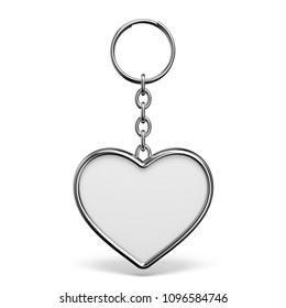 Blank metal trinket with a ring for a key heart shape 3D rendering illustration isolated on white background