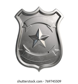 Blank metallic badge, silver emblem, coat of arms with copy space 3d rendering